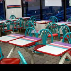Fast Table Chair Antique Bankers Parts Tables And Chairs In A Food Restaurant Stock Photo