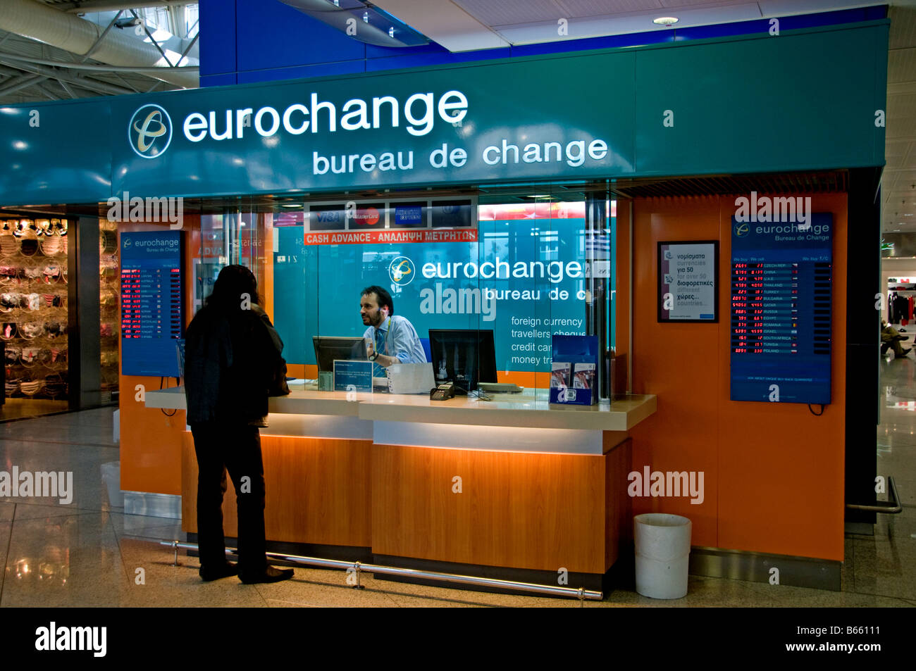 athens greece the eleftherios venizelos international airport eurochange bureau de change euro dollar pound yen
