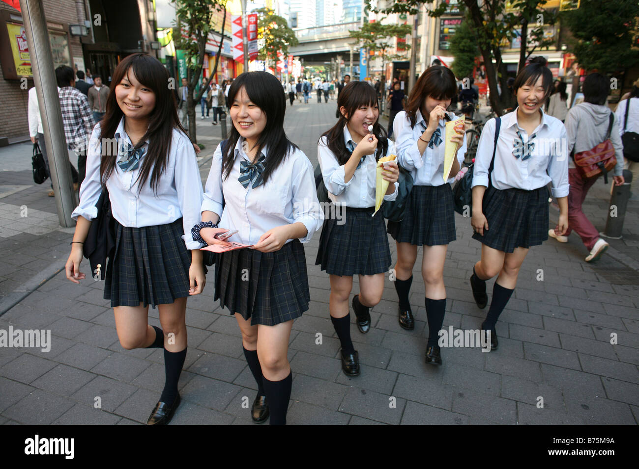 Japanese Student On Her Way To School In Tokyo Japan Stock