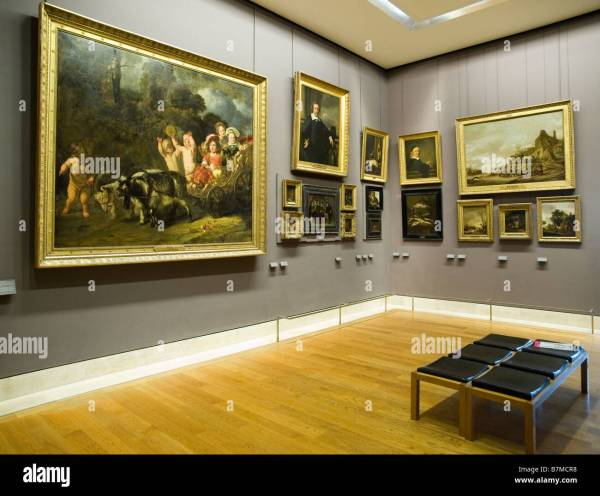 Paintings Hanging Empty In Louvre Museum Paris Stock Royalty Free