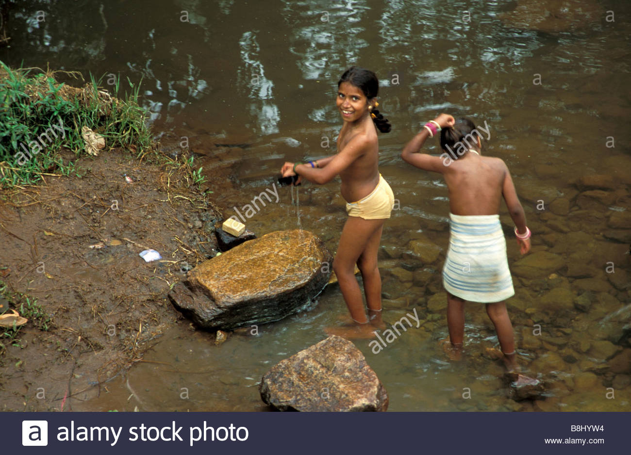 Naked girls bathing in river Young Village Girls Bathing