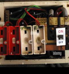 old style consumer unit electrical wire fuse box stock [ 1300 x 956 Pixel ]