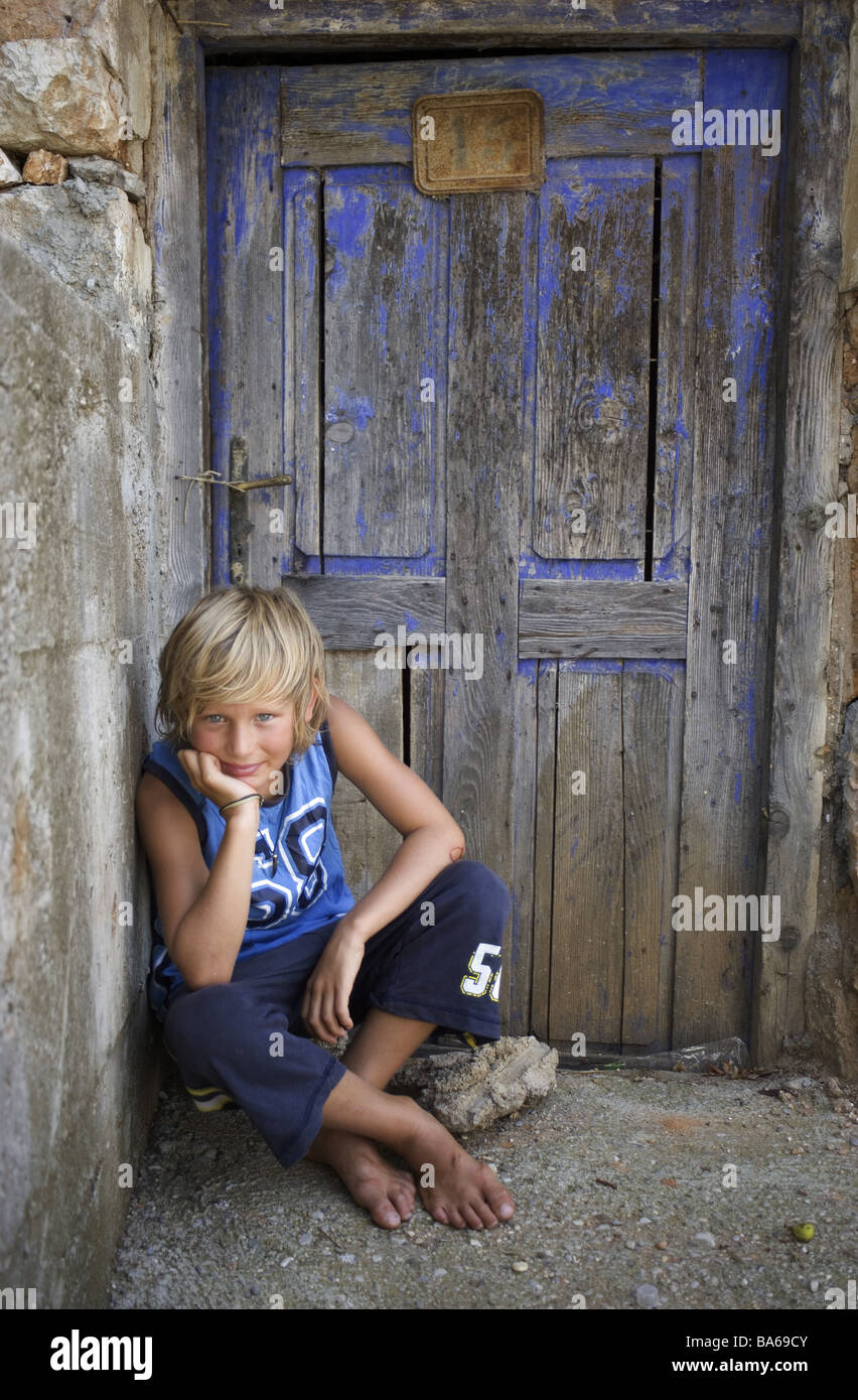 Give Birth Barefoot Sits Door Old Farm House Front Door
