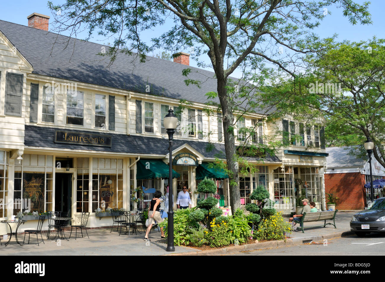 Downtown Falmouth Village, Cape Cod, With Shops And