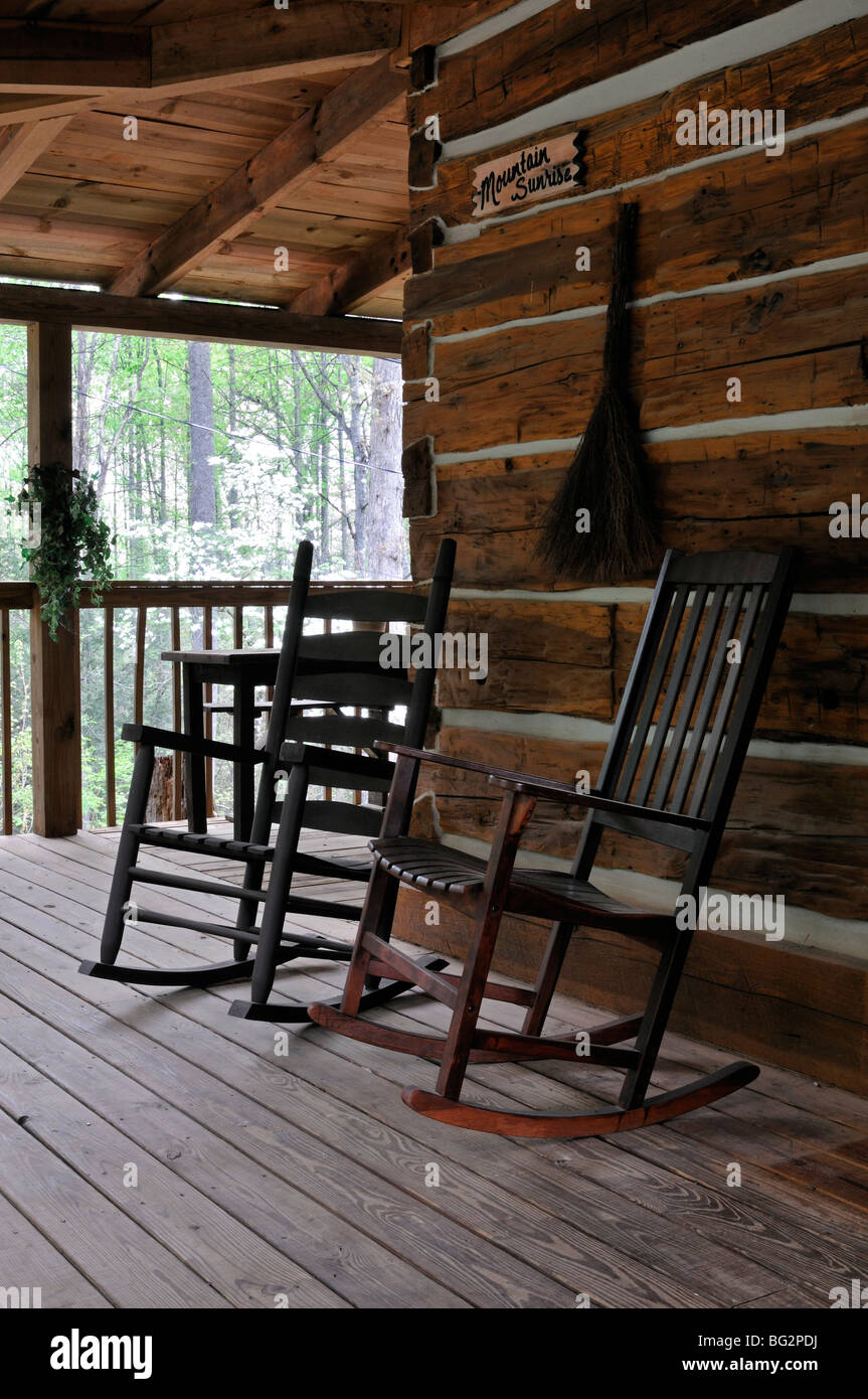 rocking chairs wooden porch of a log cabin Great Smoky