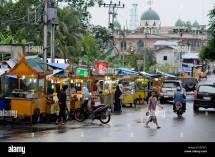 Street Scene With Hawker Stalls Pekanbaru Sumatra