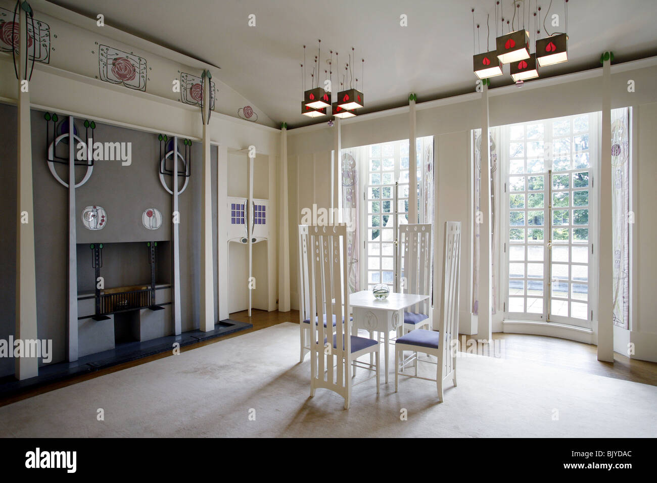 thomas table and chairs uk flexible love chair charles rennie mackintosh, house for an art lover, the music room stock photo, royalty free ...