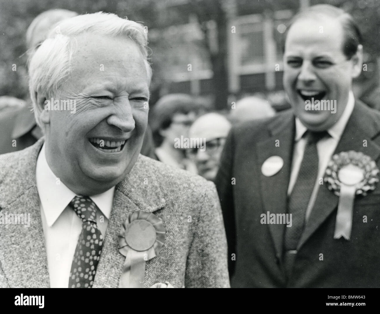 EDWARD HEATH - UK Conservative politician at left in campaigning in 1974 Stock Photo