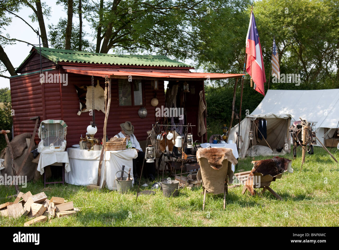 Early American Pioneer Settler Wooden Shack Homestead Settlers Uk Stock Photo Royalty Free