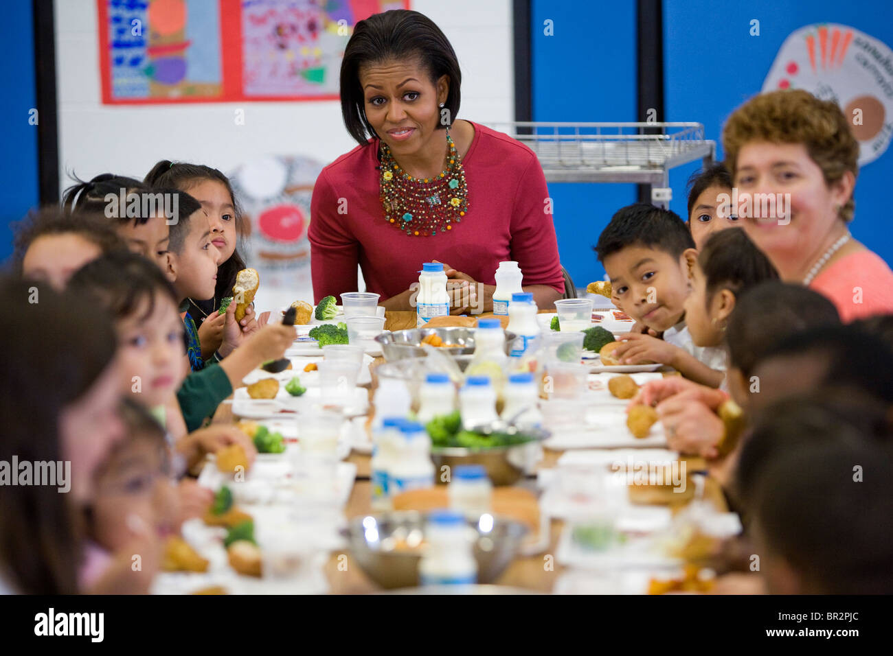 First Lady Michelle Obama Visits New Hampshire Estates Elementary Stock Photo Royalty Free