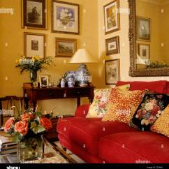 Images Of Living Room With Red Sofa 4 Seat Recliner Patterned Cushions On In A Traditional English Country Interior