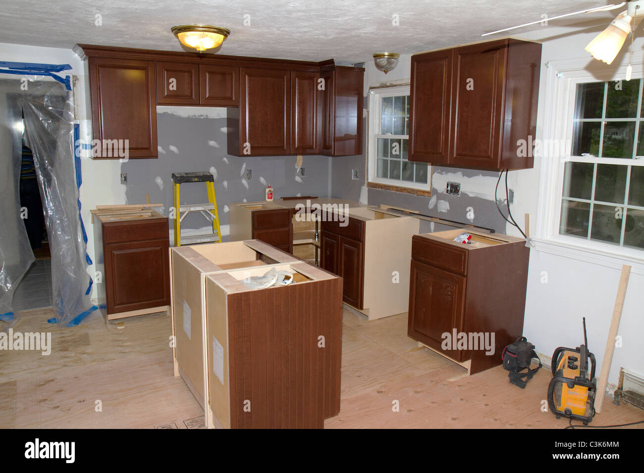 Kitchen Cabinet Refinishing Minneapolis 1960's Style American Home Kitchen During Remodeling. New