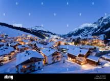 Austria Vorarlberg View Of Lech Arlberg Night