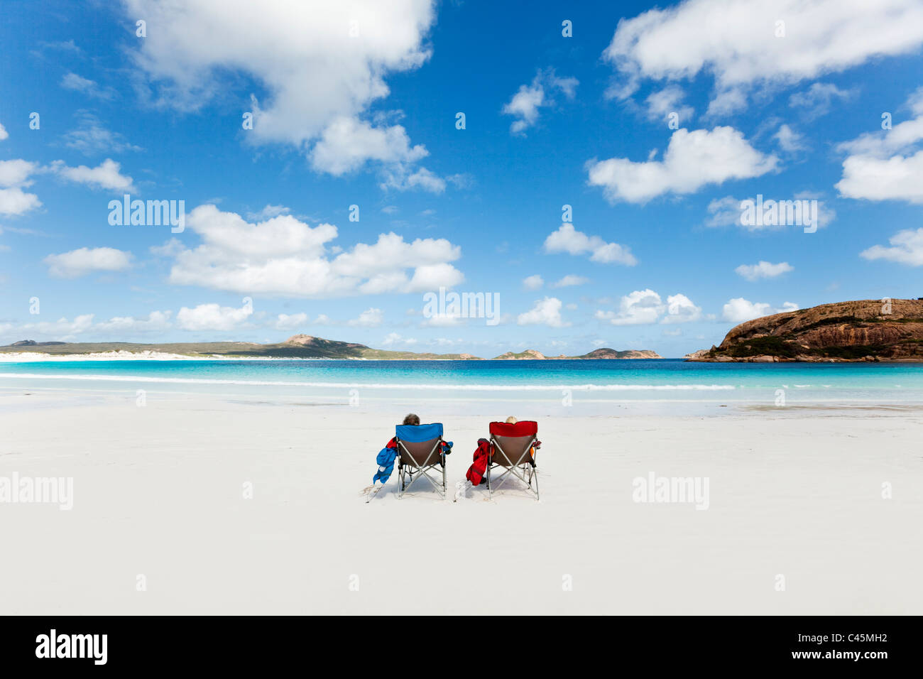 Couple relaxing on the beach at Lucky Bay Cape Le Grand