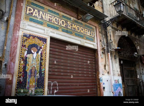 Beautiful Vintage Bakery Facade And Front Door In