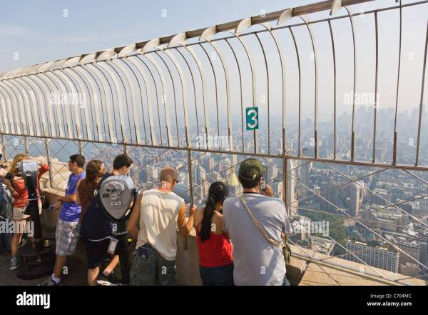 Tourists Observation Deck Of Empire State Building In York Stock 38727036 - Alamy