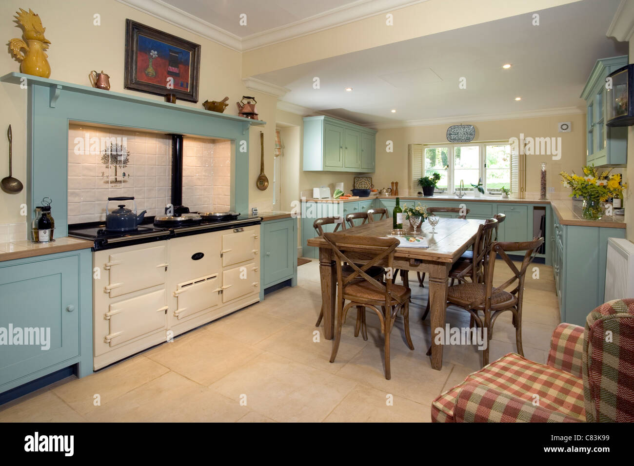 Contemporary farmhouse style kitchen with Aga cooker Stock