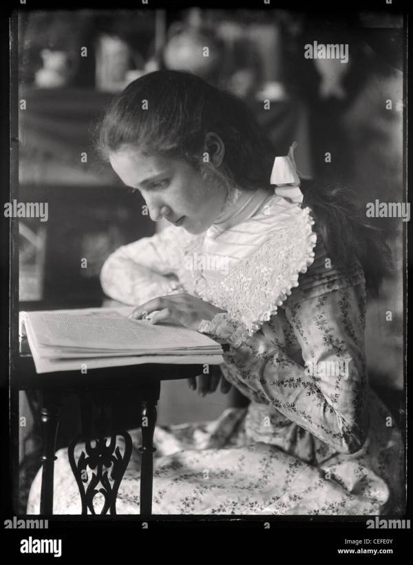 Vintage Of Young Victorian Girl Reading