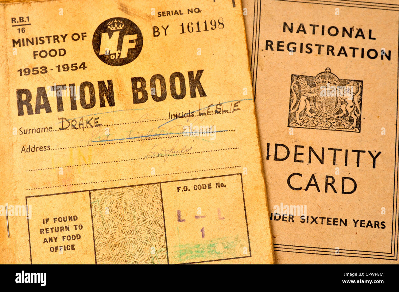 Post World War 2 Ration Book And Identity Card Stock Photo
