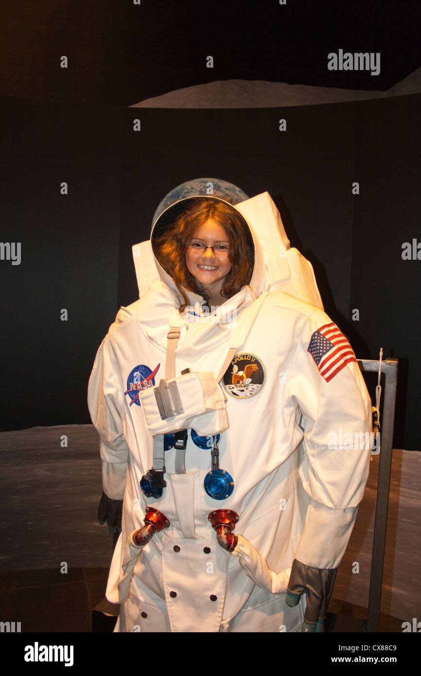 Young girl in Apollo Space Suit Tellus Science Museum
