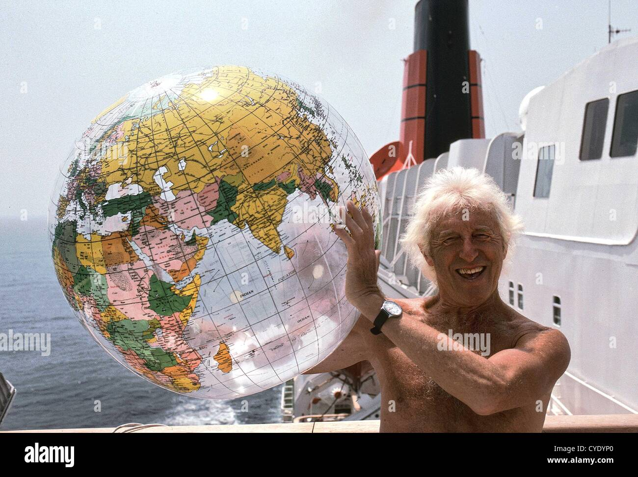 Jimmy Savile Sexual Abuse Scandal Sir Jimmy Savile, OBE pictured aboard the Queen Elizabeth 2 during the liner's Stock Photo