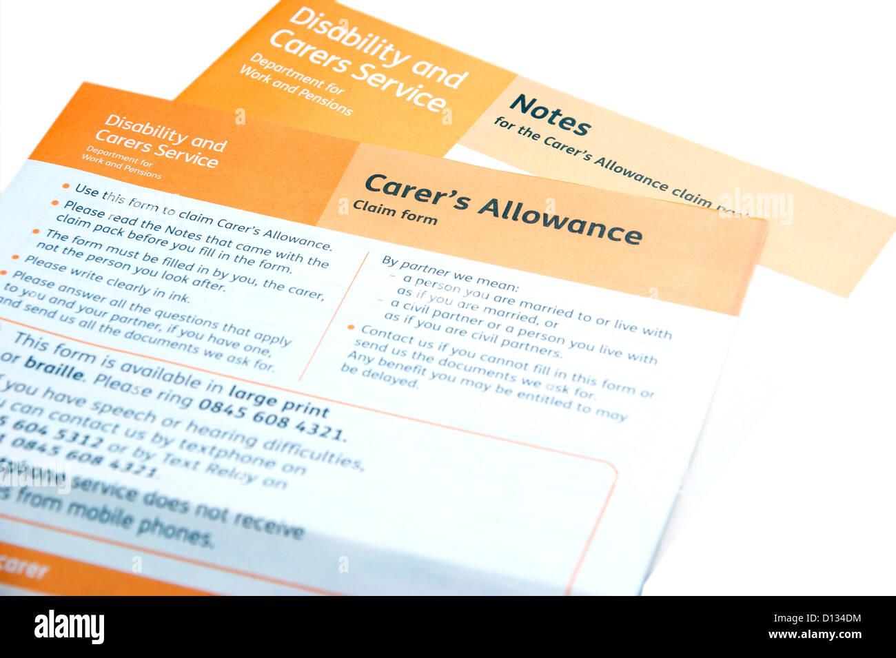 Carer's Allowance Application Claim Form (Disability & Carers Service)