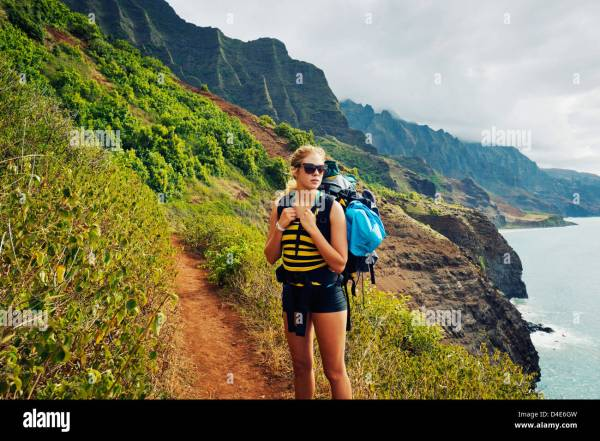 Hawaii Kauai Napali Coast Woman Hiking Trail Stock Royalty Free