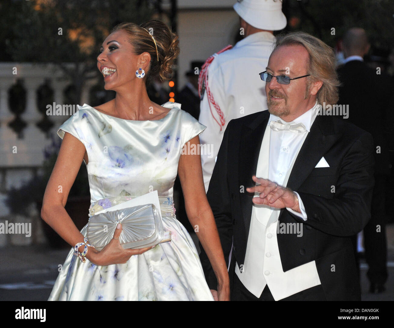Italian singer Umberto Tozzi and his wife attend the official dinner on the Opera terraces after the religious wedding Stock Photo