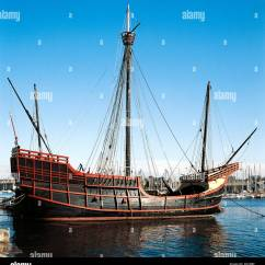 Columbus Ship Diagram Mg Tf Wiring Replica Of Caravel Santa Maria At Port, Barcelona. Catalonia, Spain Stock Photo, Royalty Free ...