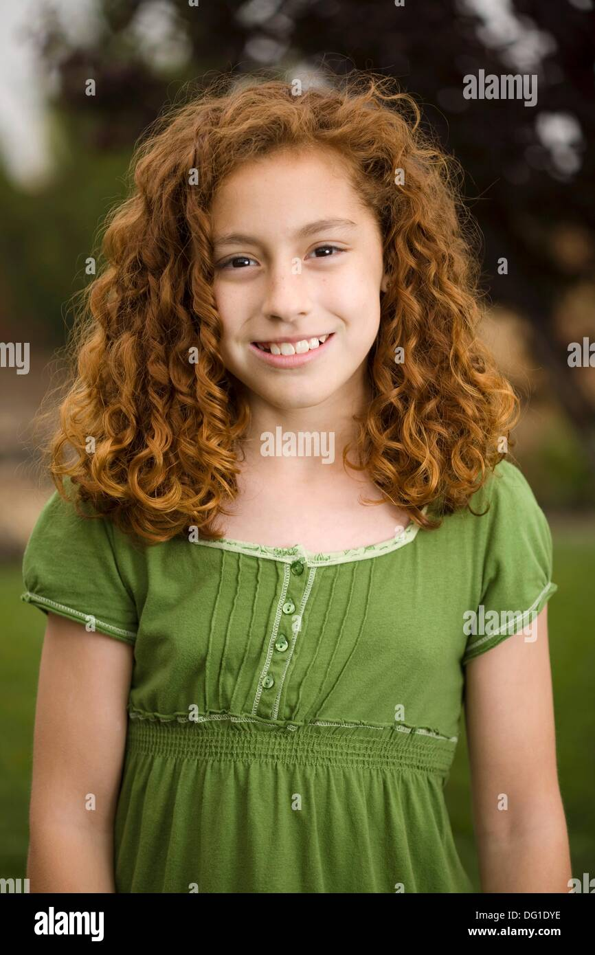 Smiling Young Red Headed Girl Mixed Race Mexican And