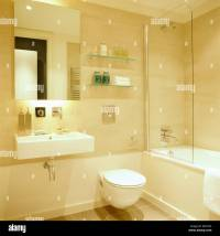 Mirror above rectangular basin in modern city bathroom