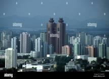 Pyongyang North Korea Twin Towers Of Koryo Hotel Stock
