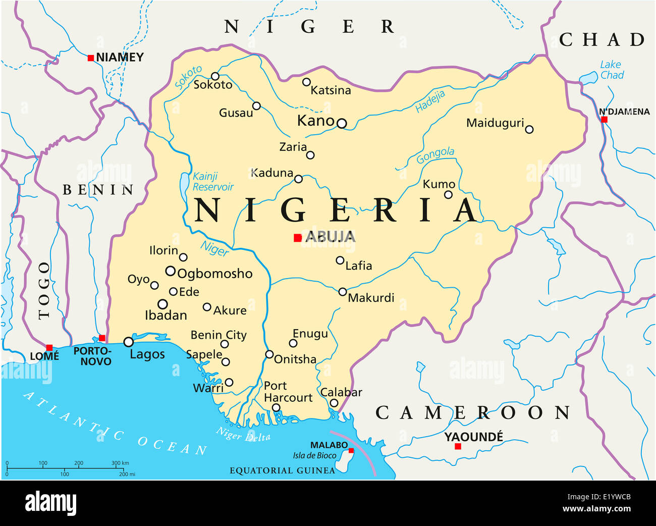 Nigeria Political Map With Capital Abuja National Borders Most Stock Photo Royalty Free Image