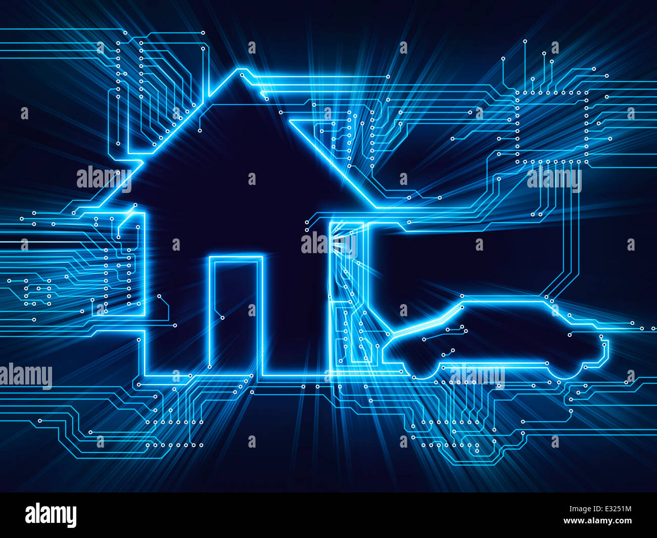 wiring diagram for home automation 4 pin trailer harness connected house and electric car future household stock photo, royalty free ...