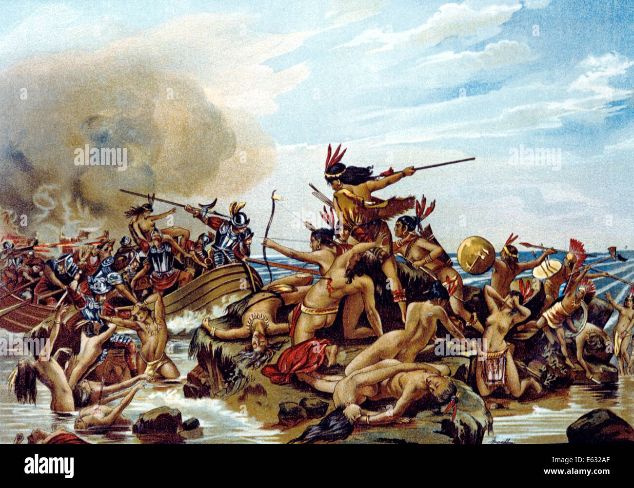 S Early Armored European Explorers Fighting With