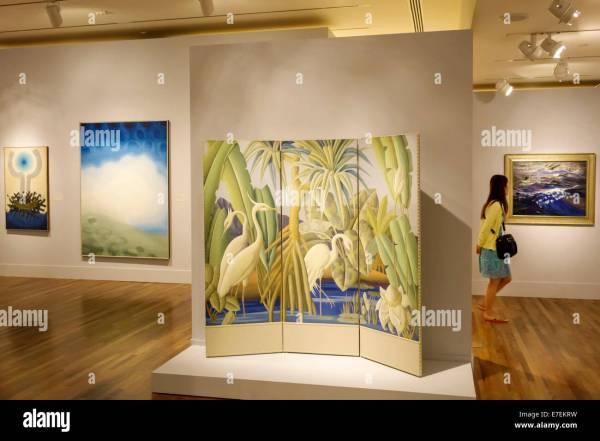 Hawaii Hawaiian Honolulu Museum Of Art Interior Paintings Stock Royalty Free