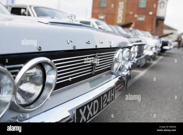 Classic Ford Zodiac motor car grill with badge in a row