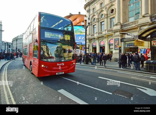 Street View And London Bus In Leicester Square United Kingdom Stock Royalty Free