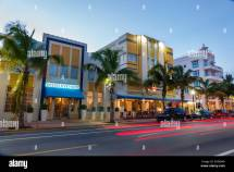 Miami Beach Florida Ocean Drive Dusk Evening Night