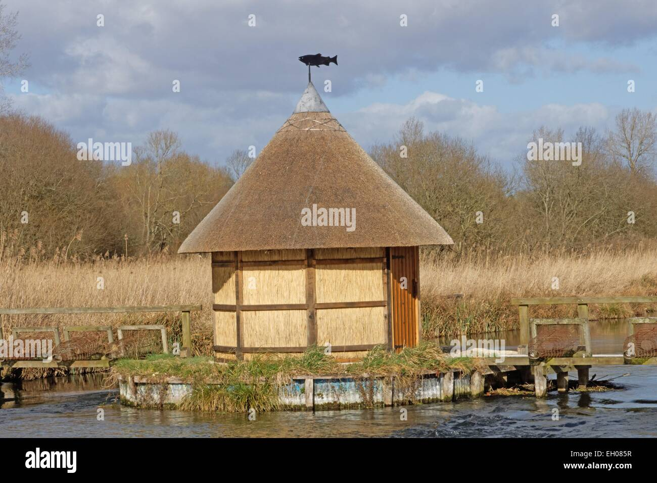 Fishermans Hut And Eel Traps On River Test Near Longstock Hampshire Stock Photo Royalty Free