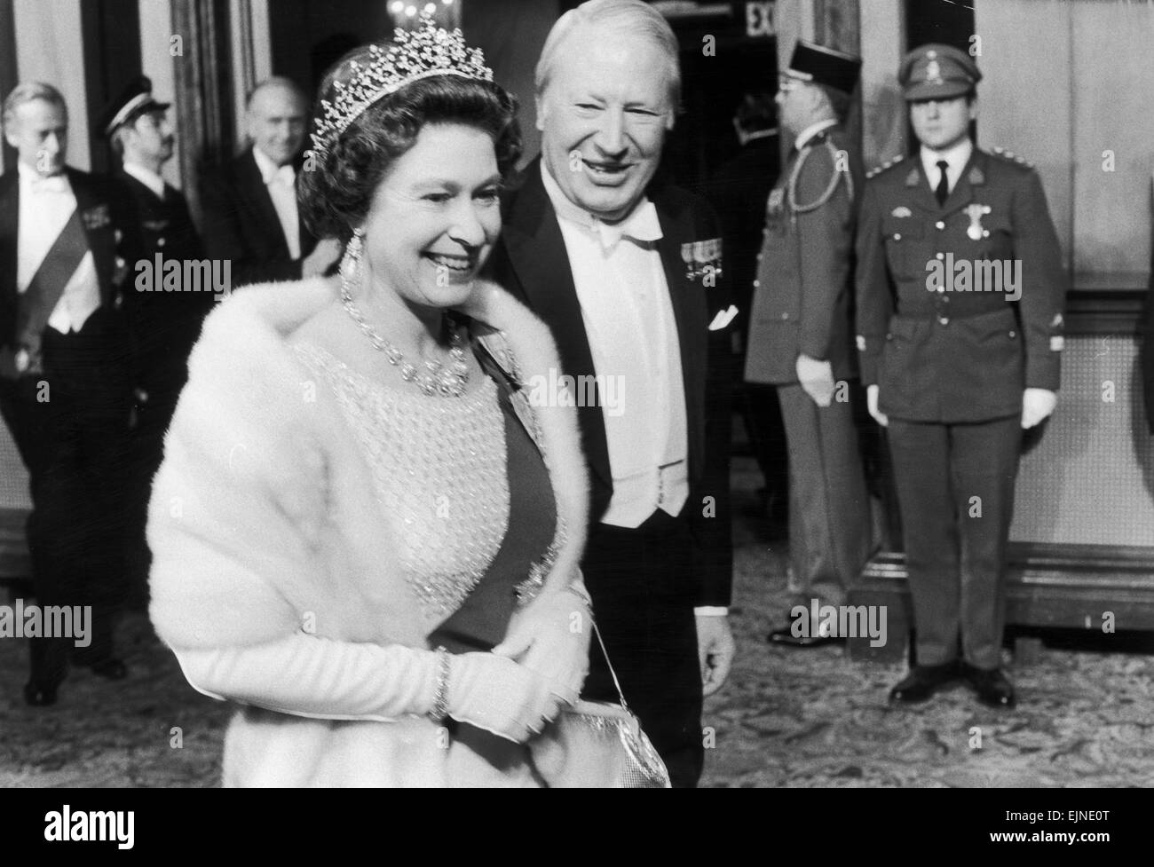 "Queen Elizabeth II seen here with Prime Minister Edward Heath atting a ""Fan-Fare For Europe"", a gala evening held Stock Photo"