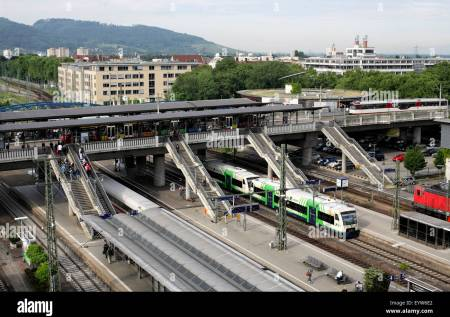 Transport interchange, Freiburg, Germany. (tram stop on bridge over main railway station.) Stock Photo