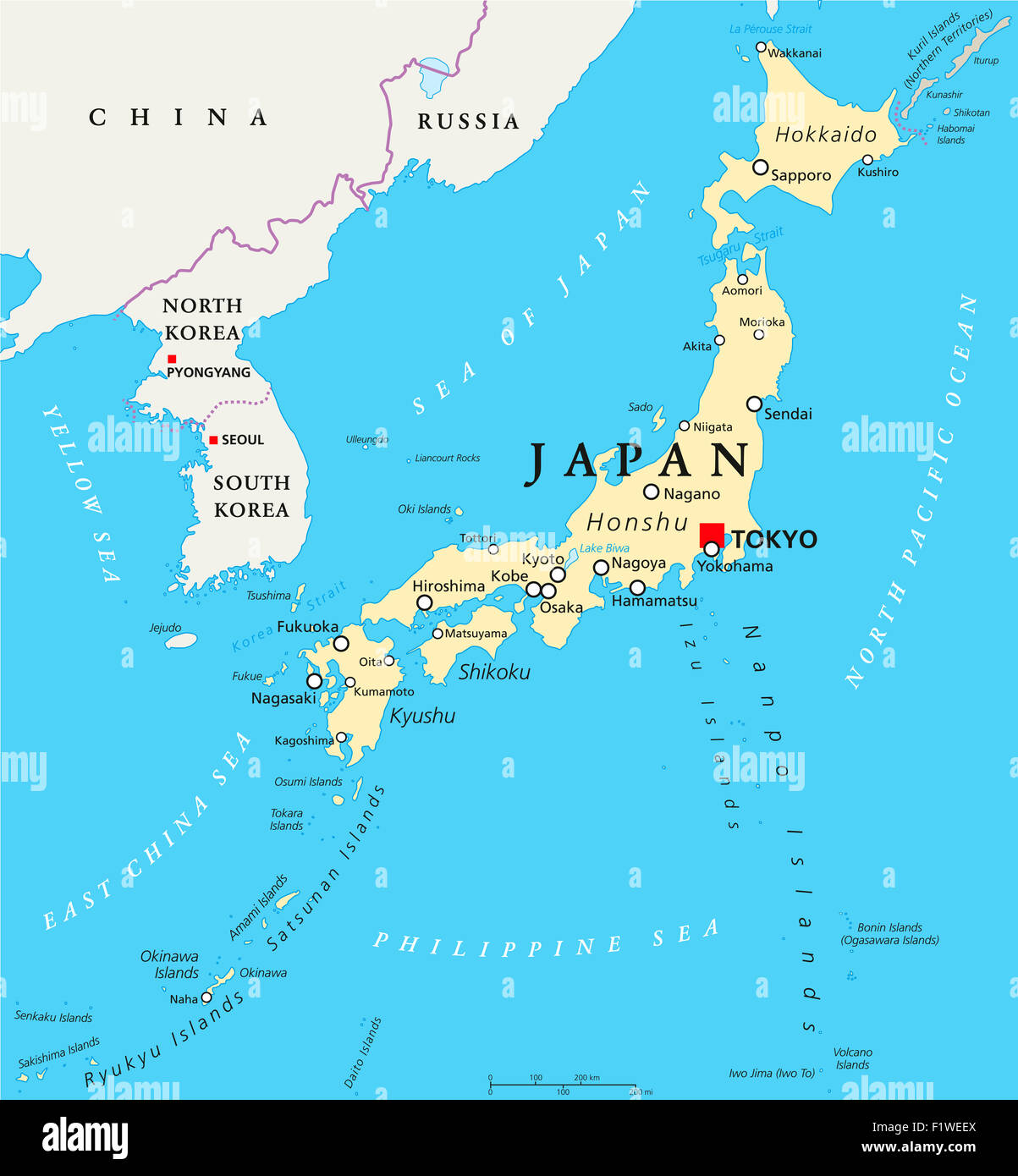 Japan Political Map With Capital Tokyo National Borders