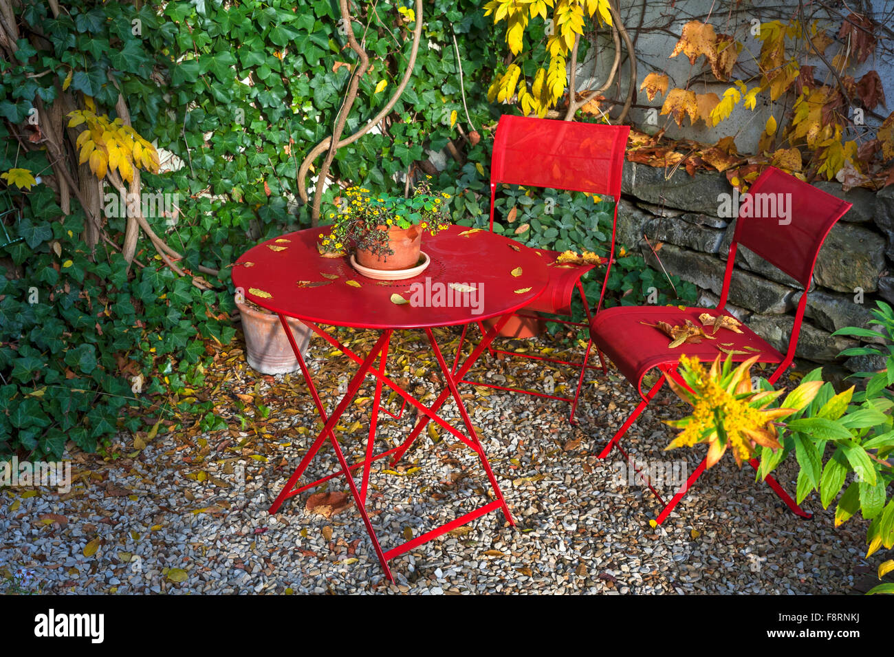 Red Patio Chairs Patio With Red Garden Furniture In Autumn Middle