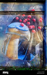 Urban wall art portraying a mushroom and red berries above ...