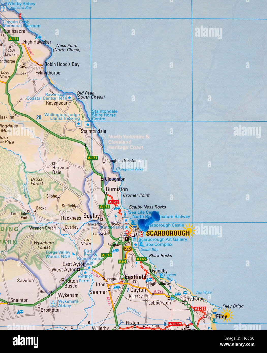 Road Map Of The East Coast Of England Showing Robin Hoods