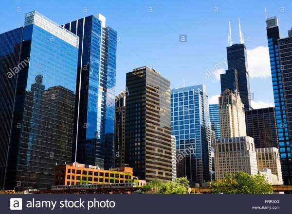 Chicago Skyline Downtown City Buildings With Famous
