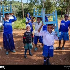 Malawi Chairs Johannesburg Ergonomic Kneeling Chair Benefits African School Kids Stock Photos And