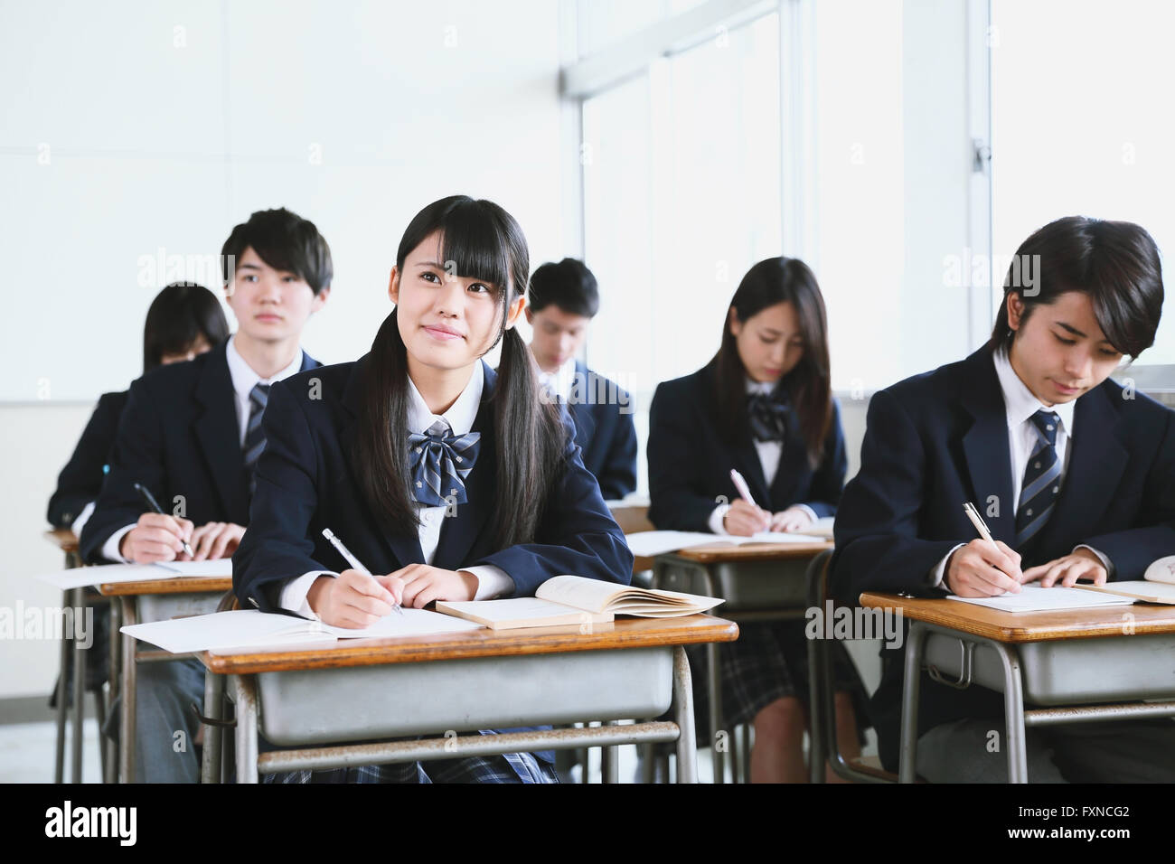 Japanese High School Students During A Lesson Stock Photo