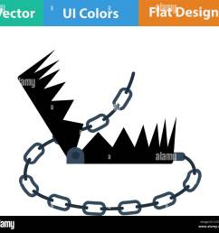 flat design icon of bear hunting trap in ui colors vector illustration  [ 1300 x 1221 Pixel ]